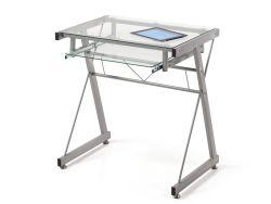 Mesa de ordenador de metal y cristal transparente Due-Home