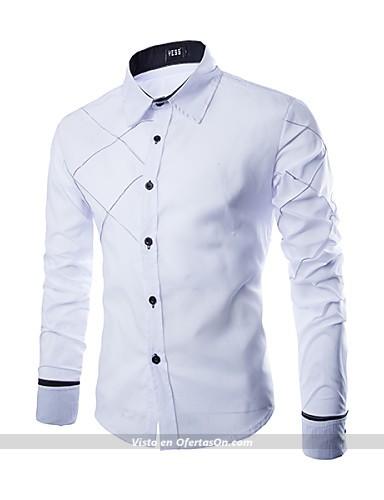 camisa de hombre estilo casual blanco negro rosa #03610180