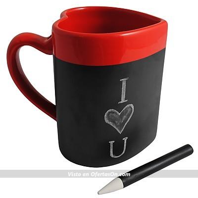 taza con forma de corazón para dejar mensajes de amor