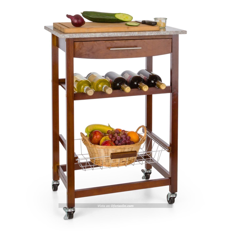 Carrito de servicio y cocina con estante para vinos klarstein zimmerservice por 99 99 ofertason - Estantes para vinos ...