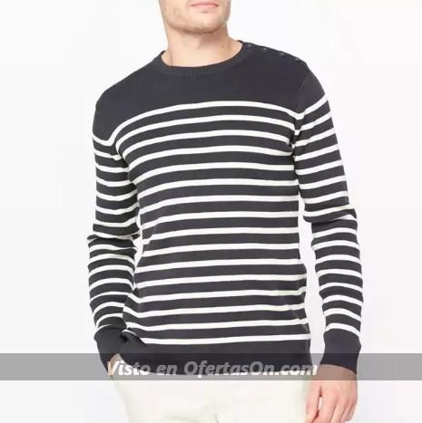 Jersey con el cuello redondo estilo marinero de algodon R essentiel
