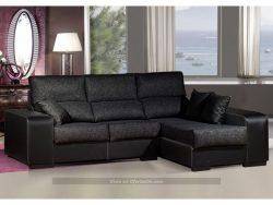 Sofa Chaiselongue tapizado en similpiel y tela (varios colores) Due Home