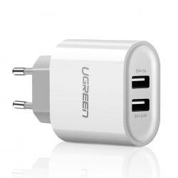 Adaptador USB - Corriente electrica (2 puertos) Ugreen 20384 blanco
