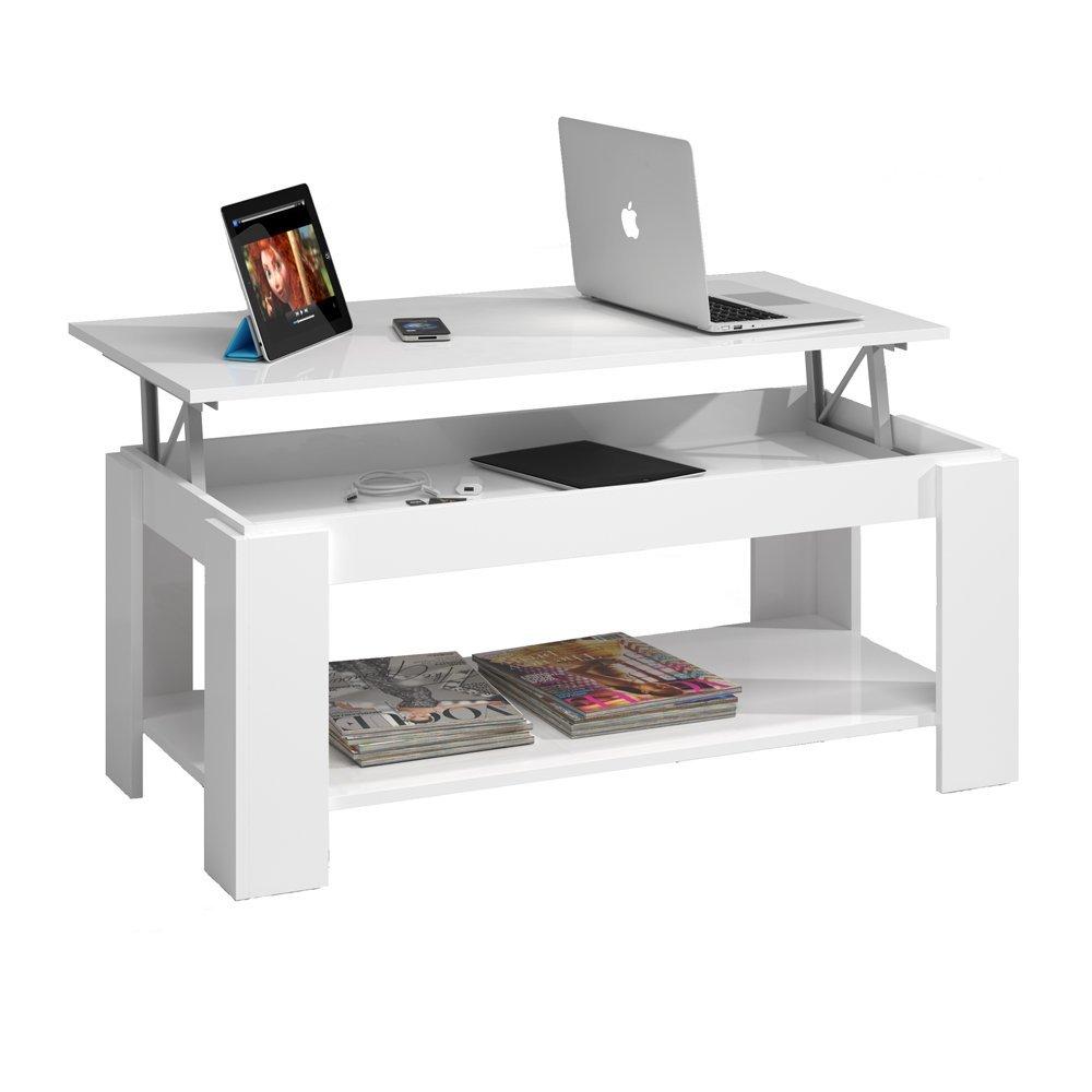 Mesa de centro elevable con revistero habitdesign 001639bo - Mesa de escritorio blanca ...