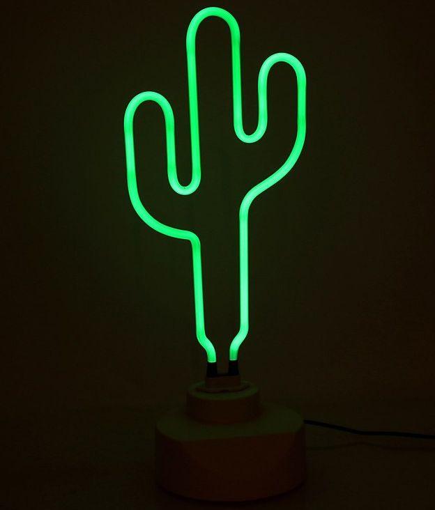 lampara de neon cactus