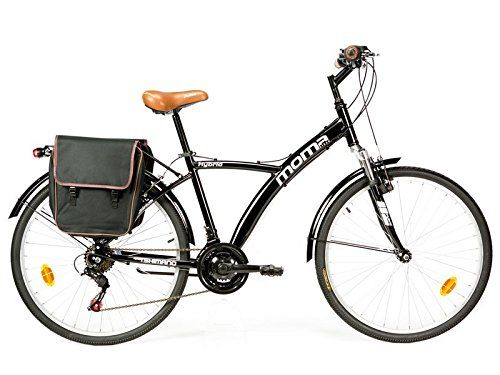 Bicicleta de paseo Moma con suspension, cuadro de aluminio, 18 velocidades y ruedas de 26 pulgadas
