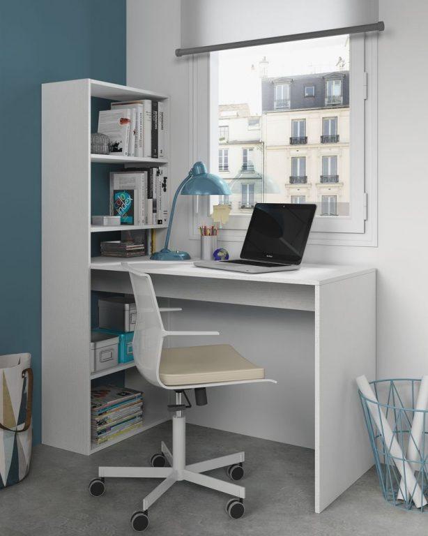 Mesa de escritorio y estantería reversible Habitdesign 144 x 120 x 53cm color blanco