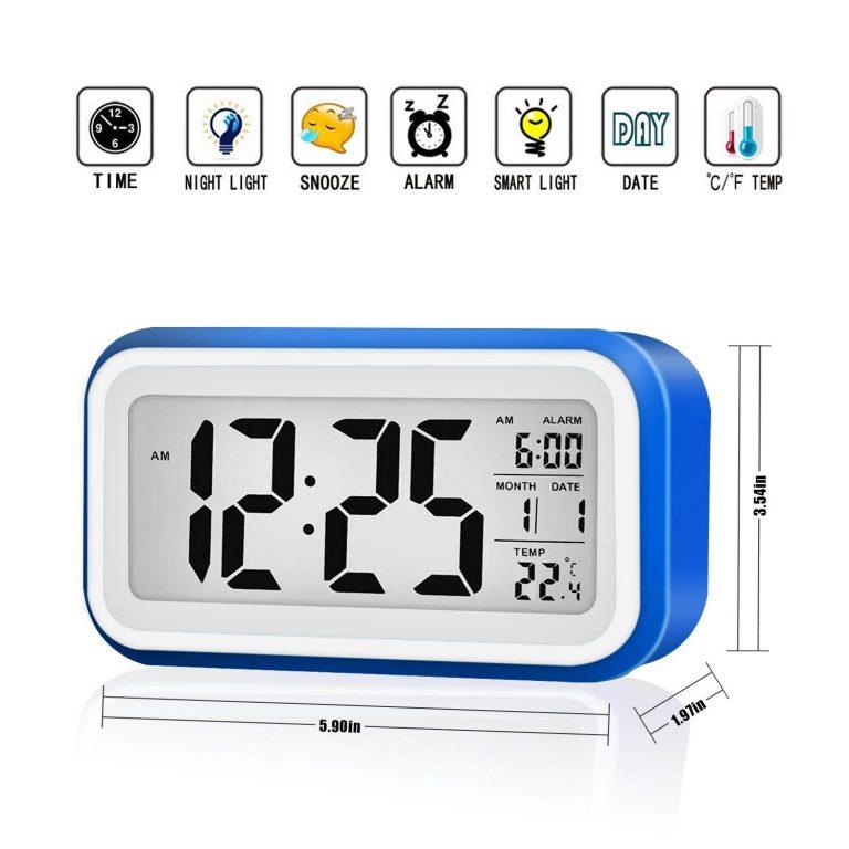 Reloj de mesa Despertador digital con fecha, calendario y termómetro Tsumbay azul oscuro