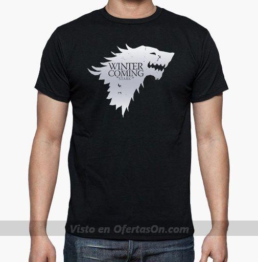 Camiseta Juego de Tronos - Escudo Stark Blanco