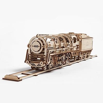 locomotora de vapor con vagon de ugears