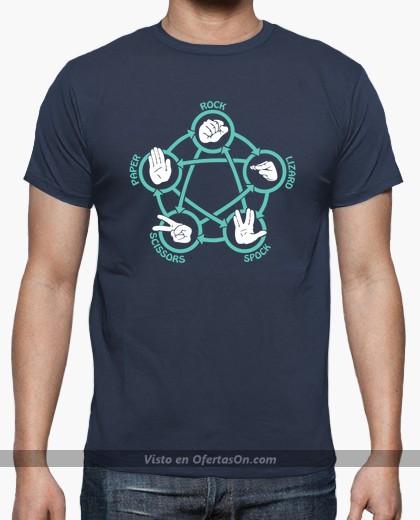 Camiseta Big Bang Theory Piedra, papel, tijera, lagarto, spock