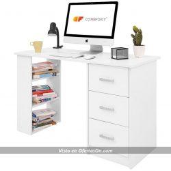 Mesa de escritorio con cajones y estantes Comifort T04B 120x49x72 Cm, Color Blanco