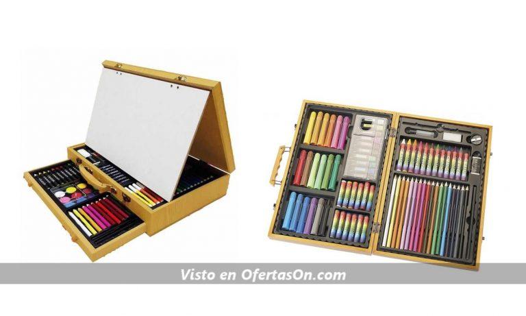 Estuche de madera de pintura Akor de 77 o 112 piezas con mini caballete