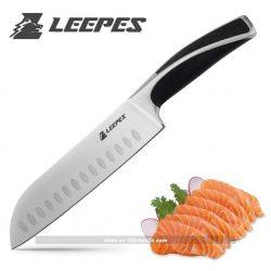 Cuchillo de cocina profesional con mango ergonómico Leepes Santoku 7 pulgadas