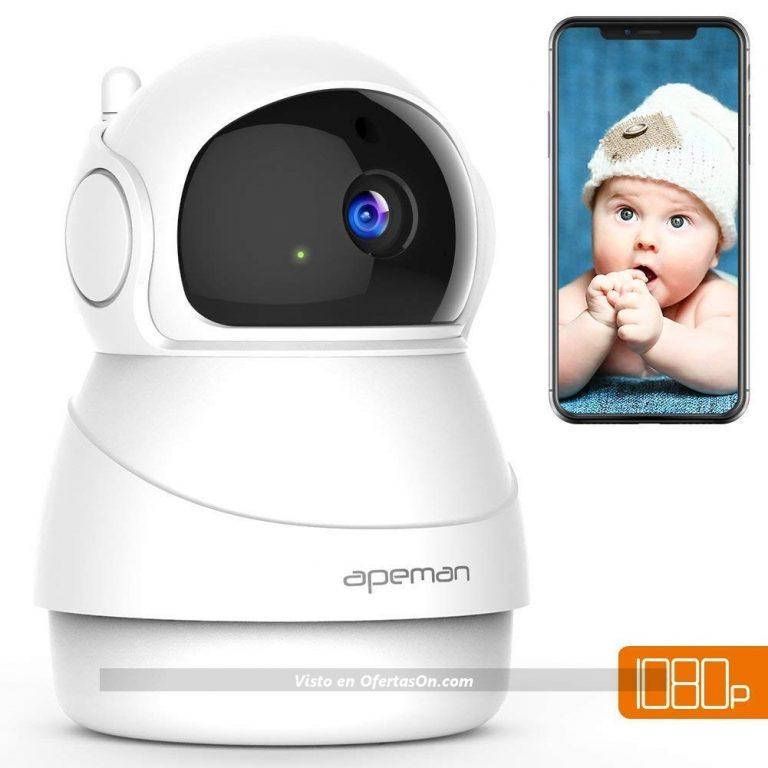 Cámara IP Apeman 1080P con visión nocturna y detección de movimiento, compatible con iPhone y Android