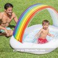 Piscina inflable con arco gris para niños