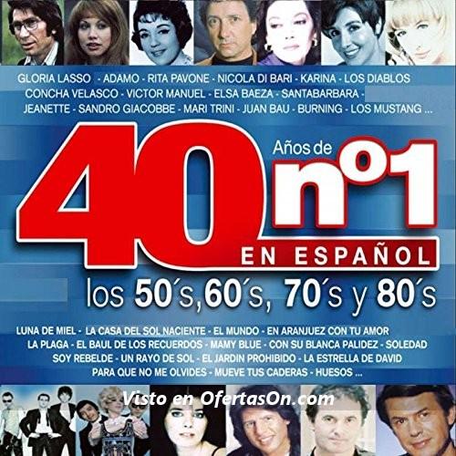 Disco 40 Años De Nº1 Los 50 60 70 80 En Español CD