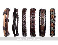 Set de 6 pulseras de cuero retro ajustables Flintronic
