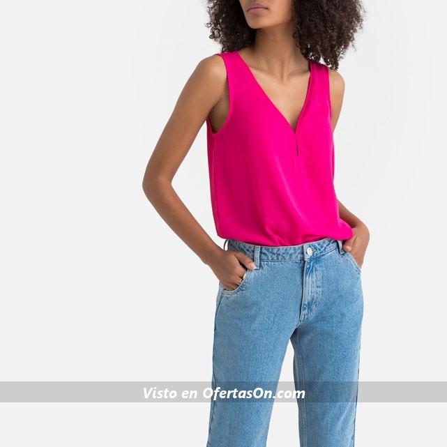 Blusa con escote de pico sin mangas de La Redoute Collections