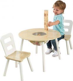 Juego infantil de mesa redonda y 2 sillas de madera KidKraft