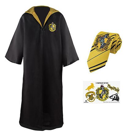 Disfraz de Harry Potter túnica corbata y tatuajes Hufflepuff
