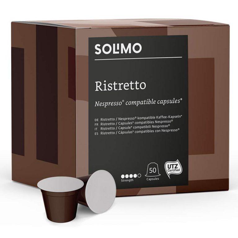 100 Cápsulas de café Solimo Ristretto compatibles con Nespresso