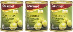 Aceitunas rellenas de anchoa Gourmet Verdes Manzanilla Pack de 3 x 50 g