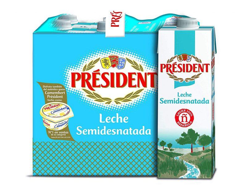 Pack de Leche semidesnatada president Leche Semidesnatada 6 x 1L