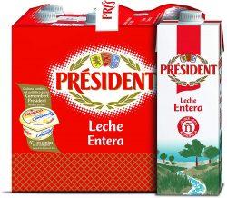 Pack de leche entera President 6x1L