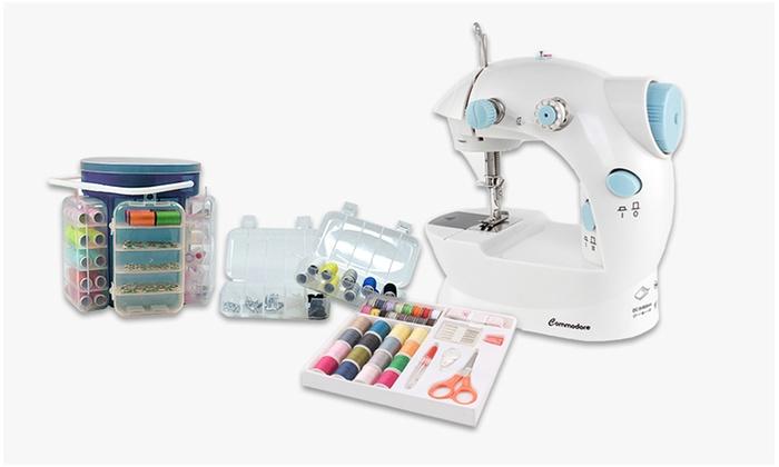 Máquina de coser y kit de costura con 183 piezas