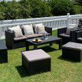Conjunto de muebles de jardín Ibiza con opción a 2 pufs y baúl