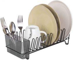 Escurridor de platos de acero inoxidable con compartimento para cubiertos y capacidad para 15 platos mDesign