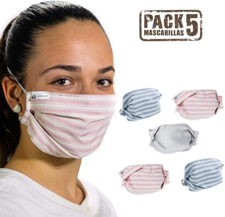 Mascarillas de tela reutilizables de 3 capas Tapidecor 5 uds.