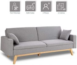 Sofá cama de 3 plazas Don Descanso con 2 cojines DD11189