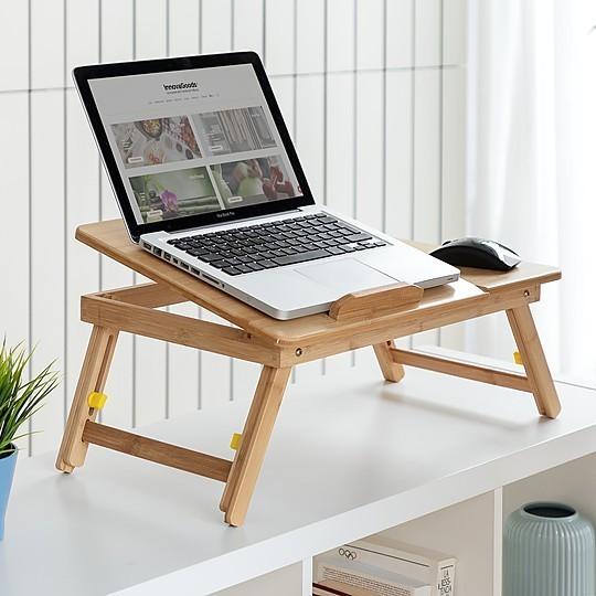 mesa plegable auxiliar de bambu