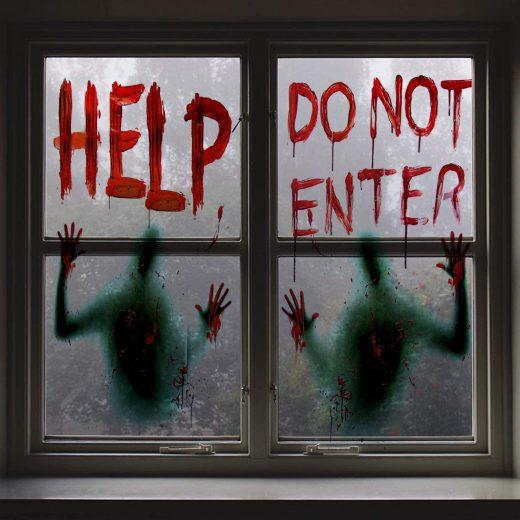 Carteles para ventana para Halloween Help do not enter