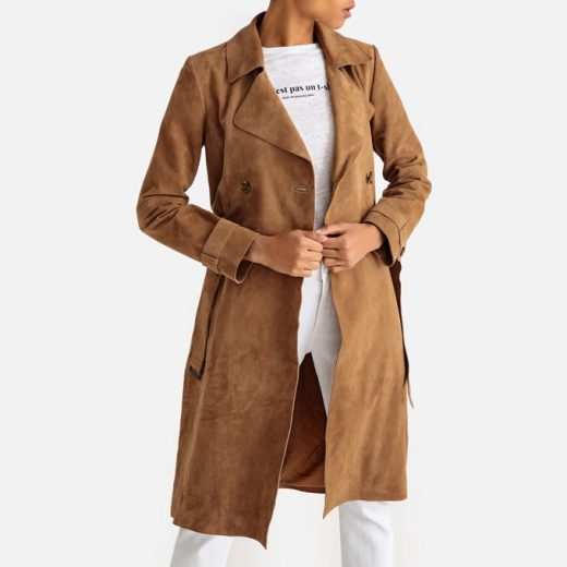 Chaqueta trench larga de piel de La Redoute Collections