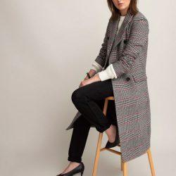 abrigo con doble botonadura y estampado a cuadros la redoute collections