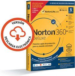 Antivirus Norton 360 Deluxe 2021 para 5 dispositivos para PC Mac smartphones y tablets