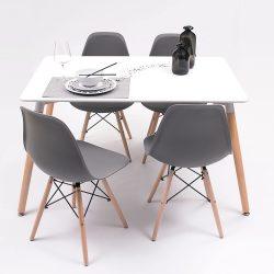 Juego de Comedor Homely con mesa y cuatro sillas estilo nordico