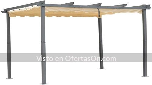 Pergola de aluminio con techo retractil Angel Living 3x4 metros