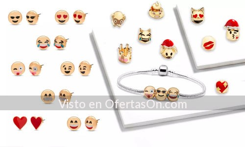 Sets de bisuteria con emojis 1 pulsera 12 charms y 8 pares de pendientes