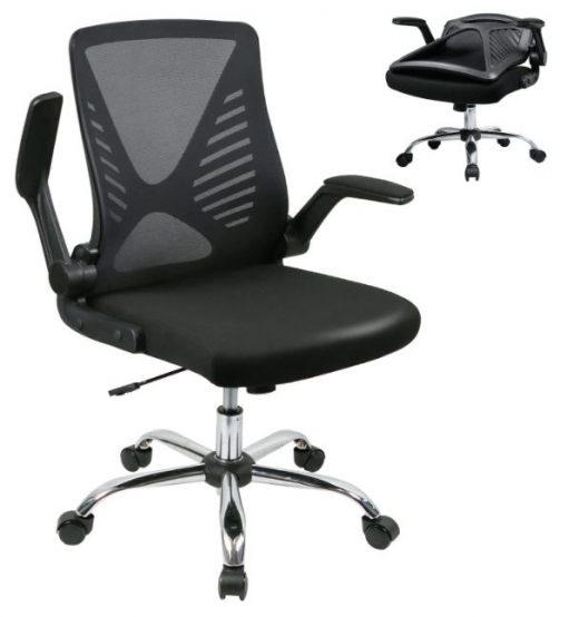 Silla de escritorio ergonomica con respaldo y reposabrazos plegables BYRORAS