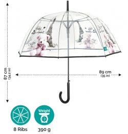 Paraguas largo transparente con diseno de Paris Perletti